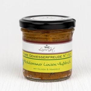 Veganer Mediterraner Linsen-Aufstrich mit Oliven und Mandeln aus dem Biosphaerenreservat Bliesgau